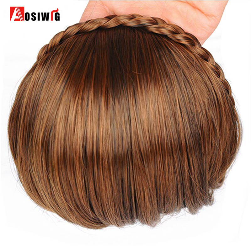 AOSIWIG Short Bangs Braid Blun Natural Hairpieces Heat Resistant Synthetic Women Hair 2 Styles Available Natural Fake Hair