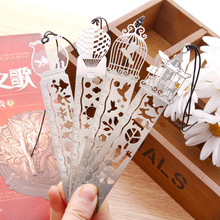 Delicate cutout book mark ultra-thin metal bookmark tape ruler brief book marker fashion bookmarks for Books Stationery Glifts(China)