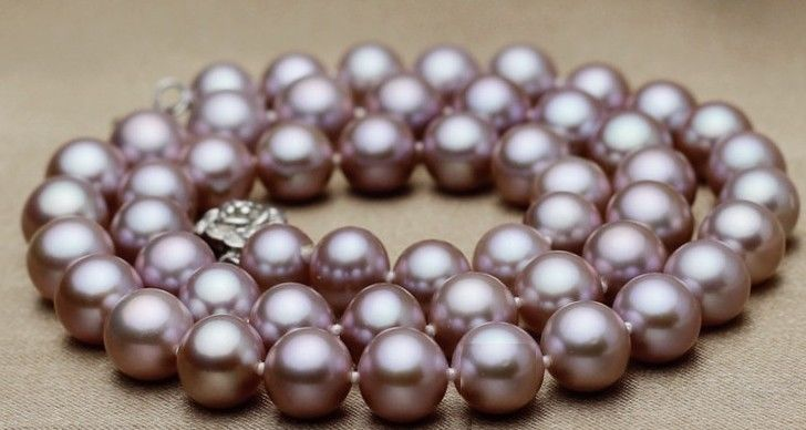 "HUGE PERFECT ROUND 18""10-11MM SOUTH SEA GENUINE LAVENDER PEARL NECKLACE 925 silver"