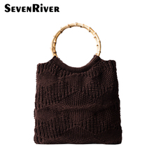 Vintage Retro Bamboo Top-handle Handbag Acrylic Fibers Female Weave Totes Bag Designer Handbags(China)