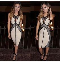 Sexy Womens Bandage Dress Elegant Women Nude Black Sleeveless Knee Length Evening Party Bodycon Dresses Club Vestidos K-21