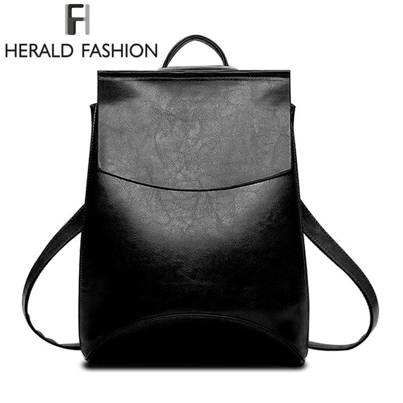 Famous Brand Backpack Women Backpacks Solid Vintage School Bags For Girls PU Leather Backpack Mochilas Mujer 2017 Herald Fashion<br><br>Aliexpress