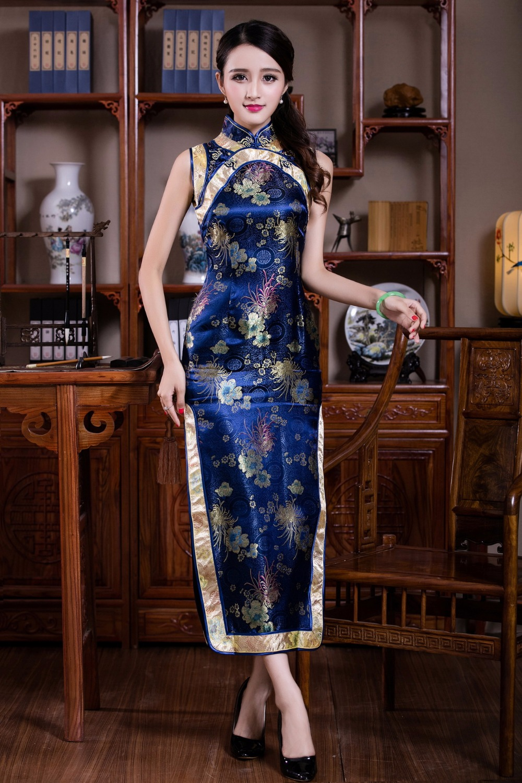3209590666 2017446649. 3209765619 2017446649. 3209768640 2017446649. Blue  Chinese Lady Evening Party Dress Short Sleeve Cheongsam Qipao ... 721ec00848e3