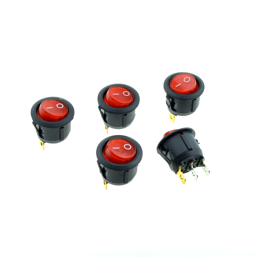 5PCS Red Round Rocker Switch illuminated Light 3Pin SPST 2Position ON/OFF 20mm Snap-in Panel Mount AC 10A 125V,6A 250V<br><br>Aliexpress
