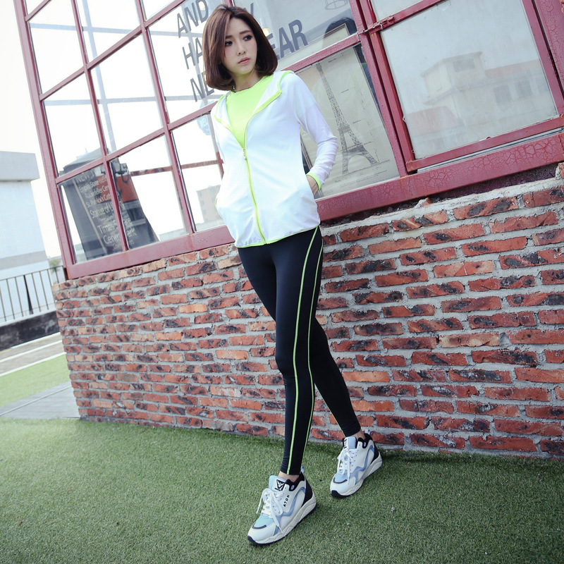 Korean Outdoor Leisure Fitness Wear Breathable Mesh Hoodie Coat Zipper Fitness Two Suit Female Sports<br>