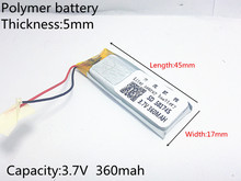 3.7V 360mAh 501745 Lithium Polymer LiPo Rechargeable Battery ion cells For Mp3 Mp4 Mp5 DIY PAD DVD E-book bluetooth headset