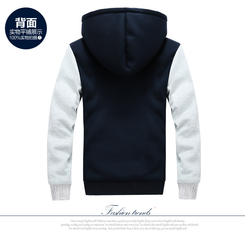 5XL Fleece Hoodies Men Winter Warm Mens Hooded Jackets Tracksuits Outwear Patchwork Sportswear Thicken Wool US Size Sweatshirts 6