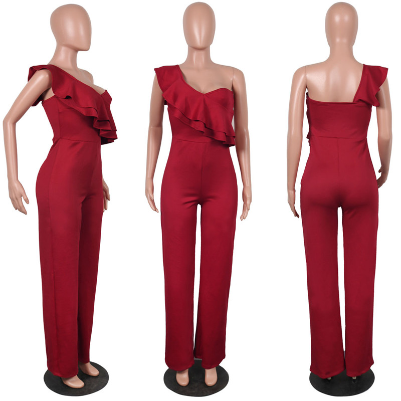 sexy red one shoulder ruffles long jumpsuit-6