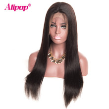 Indian Straight Wig Lace Front Human Hair Wigs With Baby Hair Full ALIPOP Swiss Lace Front Wig Remy Human Hair Wigs Pre Plucked(China)
