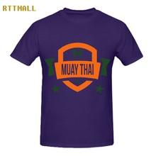 RTTMALL Normal Leisure Mens Custom Tops 100% Cotton Muay Thai Stars Logo Unique Camiseta for Adults Printed Company Guy T shirts(China)