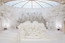 White wedding props stage background decoration flower White artificial ginkgo biloba White leaves