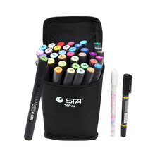 STA 36 Colors Alcoholic Watercolor Graffiti Sketch dual Nibs Markers Pens Set Graphic Art Twin Tip Pen Marker Broad Fine+ Gift