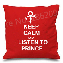 Hot Keep Calm and Listen to Prince Cushion Cover Purple Rain Symbol Throw Pillow Case Gift Fashion Prince Minneapolis Sound 18""