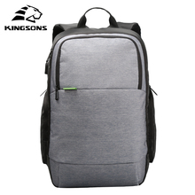 "Kingsons 15""15.4""15.6"" USB Charge Port Nylon Laptop Bag Travel Backpack Notebook Pouch Knapsack Pack For Lenovo Sony Macbook IBM(China)"