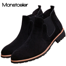 Vintage Suede Chelsea Men Boots Leather Ankle Boot British Style Handmade Sewing Nubuck Men Shoe