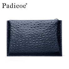 Padieoe New Men Clutches Luxury Famous Designer Brand Bags Fashion Men's Genuine Leather Ostrich Pattern Handbags Free Shipping