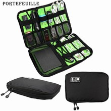 Portefeuille 100PCS Cable Organizer Electronics Accessories Travel Bag for Hard Drive USB Mobile Phone Charger Charging Case