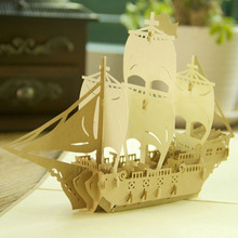 3D Pop Up Origami Paper Laser Cut Greeting Cards Handmade Kirigami Sailing Boat Birthday Christmas Anniversary Postcards H06