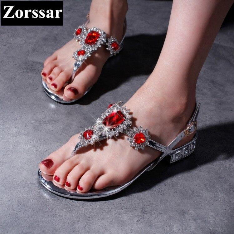 Summer Shoes Woman fashion Rhinestone flat heel sandals women flip-flops slippers 2017 NEW Genuine leather womens Slides shoes<br>