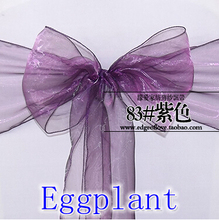 Eggplant colour Chair Sashes crystal Organza sash Wedding Party Decoration Bow sash wholesale snow organza silk sash band(China)