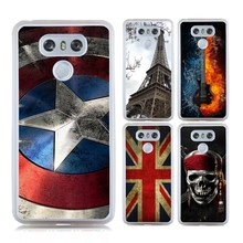 Hot Sale Captain Case for LG G6 Phone Bag Case Emoji Eiffel Tower Guitar UK Flag Skull Painting Soft TPU + Hard PC Shell