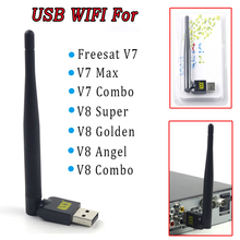Mini portable USB Wifi antenna Dongle for Satellite TV Receivers Freesat v7 V8 Golden V8 Super External USB 2.0 Wifi LAN Adapter(China)