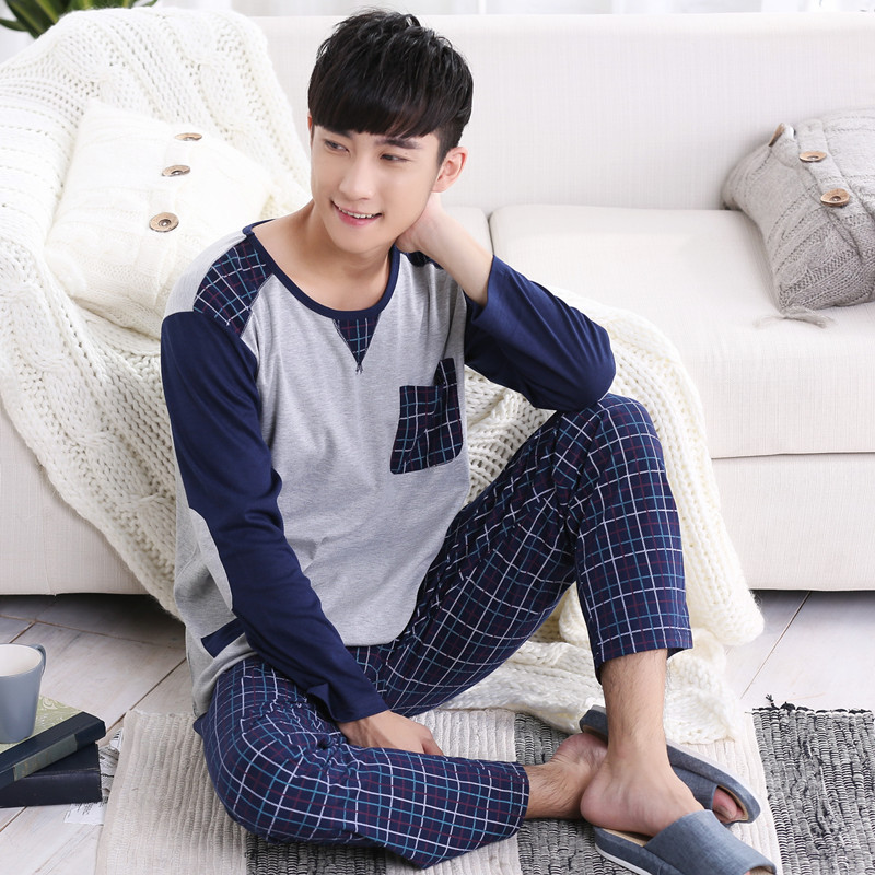 2019no brand  fashion men shipping cloth 100%cotton o-neck collar long grey coat and blue plaid pant