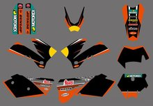 style (0407 BULL BLACK) TEAM GRAPHICS & BACKGROUNDS DECALS FOR KTM SXF MXC SX EXC 2005 2006 2007 - Cnc Motocross Graphics Parts store