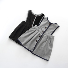 Retail Girl's winter Wool Dress, grey black button tank dress for girls, Elegant Fall Garments 16DD674