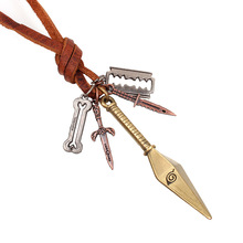 Winleader, Leather Cord Pendant Necklace, Antique Brass Color Pendant Necklace, Naruto Dart Pendant Necklace WL161208005