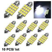 10PCS/Lot 31mm/36mm/39mm/41mm Dome LED 3528 16 SMD Car Light Source Festoon Interior Bulb Light Lamp Cool White