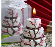 wedding favor candles -- Wedding candle Cherry Blossom Design Cake Candle Favor 100pcs/lot