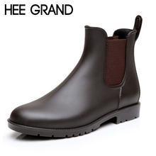 HEE GRAND Sexy Rain Boots 2017 Women Ankle Boots Casual Platform Shoes Woman Slip On Creepers Casual Flats Size 35-43 XWX4080(China)
