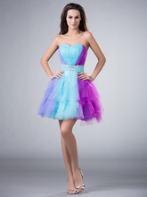 2017 Blue Purple Colorful Short Cocktail Dresses Sweetheart Ruffles Juniors Informal Prom Cocktail Party Gowns Custom Made Sale