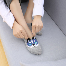 5 Pairs/lot Low Cut Invisible Cotton Socks Slippers 3D Dogs Silicone Fashion Socks