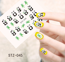 1pc Cute Animal Panda with Bamboo Nail Stickers Water Transfer French Tips Wraps Decals on nails Decorations SASTZ045(China)