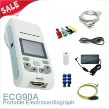 Contec Manufacturer shipping ECG90A Handheld 12-lead ECG Electrocardiograph Portable ECG machine Free more 5 rolls paper