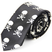 5cm Mens Wedding Accessories Skinny Ties for Men Printed Pattern Casual Slim Necktie Skull Color Black White Red Blue Ties