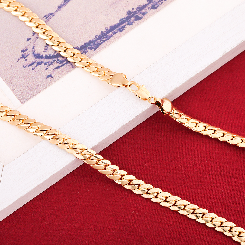 Men's Women Couple Metal 24K Gold Filled Snake Brass Necklace Chain
