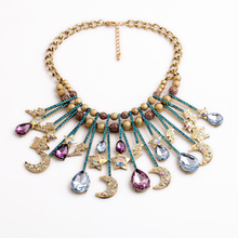 Novelty Flashing Multicolor Crystal Star Moon Water Drops Tassel Pendants Necklace Factory Wholesale(China)