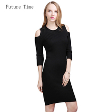 Buy 2017 New Autumn Solid Knitting Dresses Bodycon Sheath Basic Slim Skinny Vestidos Mujer Shoulder Exposed Pencil Sexy Dress SK252 for $27.62 in AliExpress store