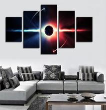 Oil Painting 5 Pcs Large Hd Abstrac Planet Canvas  For Living Room, Wall Art Picture Gif