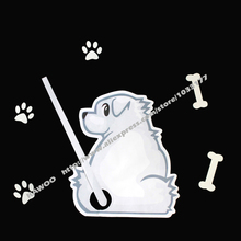 KAWOO DIY Auto Accessories Cartoon Animals Funny Dog Moving Tail Stickers Car Window Wiper Decals Stickers Car Styling