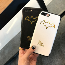 SZYHOME Phone Cases for IPhone 6 6s 7 Plus Case Luxury Imitation Leather Stylish Bat for IPhone 7 Plus Cell Phone Cover Case D