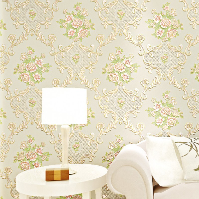 beibehang Environmental non-woven 3D three-dimensional relief decoration flower Korean garden living room wallpaper background<br>
