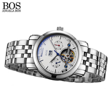 ANGELA BOS Stainless Steel Skeleton Automatic Mechanical Watch Men Date Sapphire Top Brand Man Watches Chinese Wrist Watch(China)