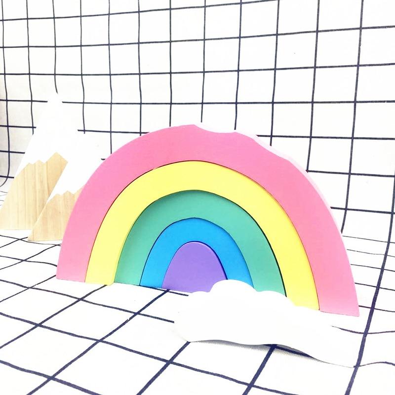 Wooden Rainbow Building Blocks Set