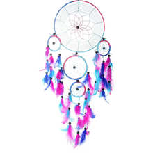 1PC Colorful Rose Blue Feather Dream Catchers Wind Chimes Ornament for Home Room Car Decor Hanging Decor DIY Crafts Gift(China)