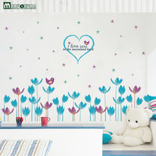 Blue Purple Flower Combination Skirting Board Living Room Cabinet Stickers Wardrobe Doors And Decoration Wall Stickers