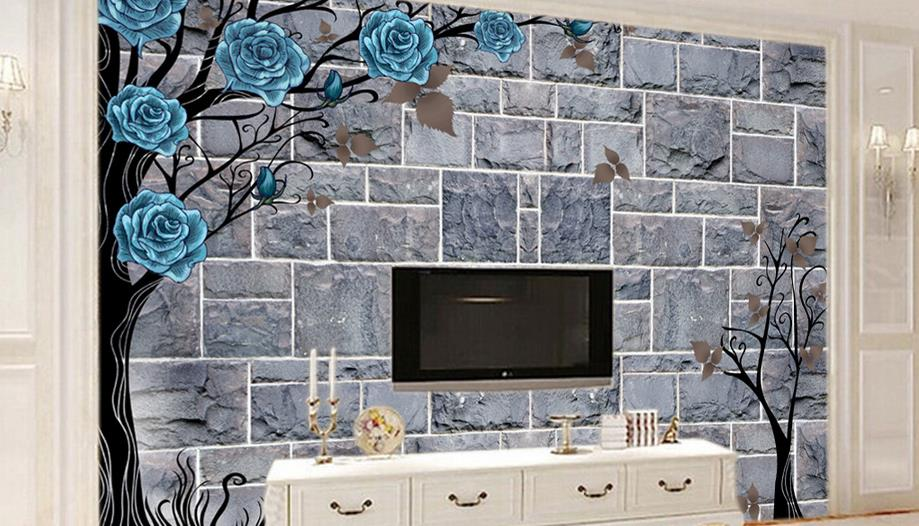 Retro European style Wallpaper For Walls 3 d For Living Room Custom 3d Blue Rose Flower Tree Classic Style Background Decoration<br>